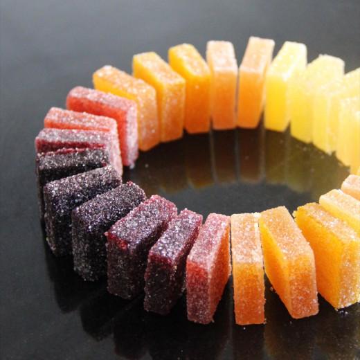 Pâtes de fruits assorties en forme de rond