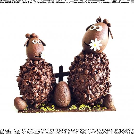 moutons en montage chocolat
